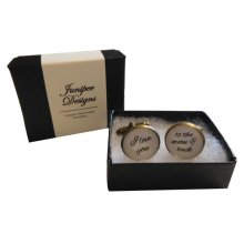 "Handcrafted ""I love you to the moon & back"" Cuff links - Excellent Valentine's Day, Christmas, anniversary or birthday gift"