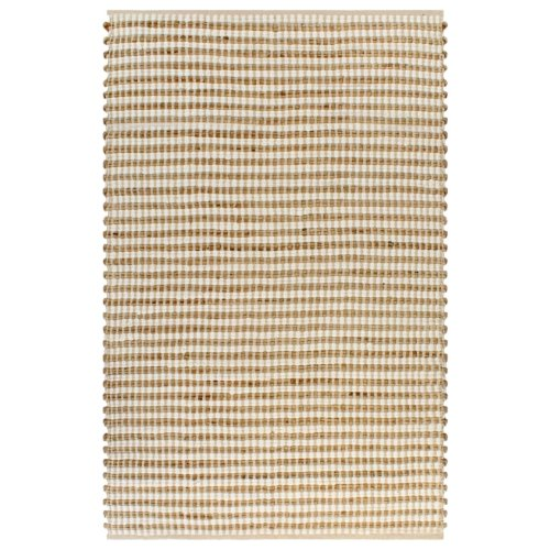 vidaXL Hand-Woven Jute Area Rug Fabric 120x180cm Natural and White Carpet Mat