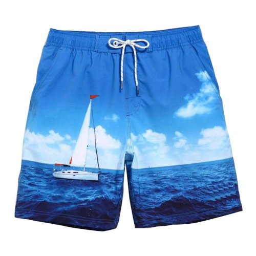 Beach Shorts Men's Quick-drying Pants Holiday Loose Swim Shorts,L Size,#02