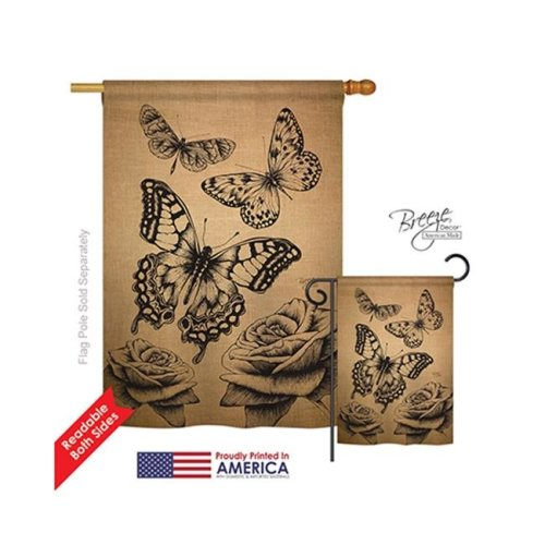 Breeze Decor 04002 Butterflies Burlap 2-Sided Vertical Impression House Flag - 28 x 40 in.