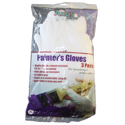 Axus Décor P.U.Tex Palm Coated Painters Gloves (Pack of 3)