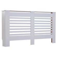 HOMCOM MDF White Painted Radiator Cover Wooden Cabinet Shelving Display Horizontal Slats Modern Style 152Lx 19W x 81H cm