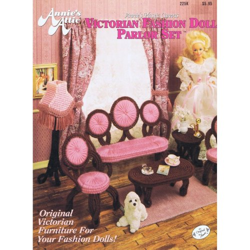 Fashion Barbie etc Doll Victorian Parlor Set Plastic Canvas Cross Stitch Chart