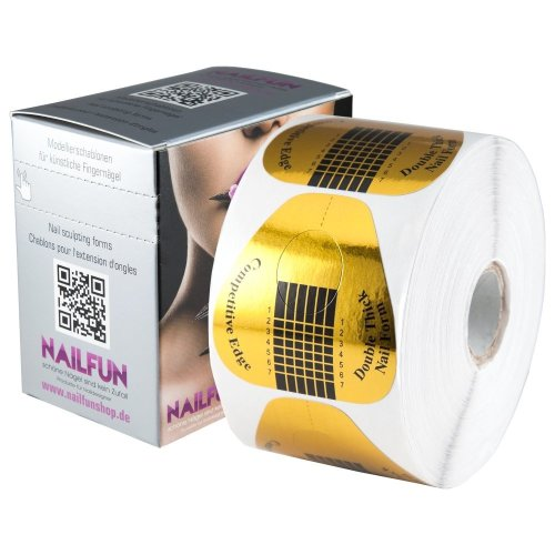 Nailfun 1roll = 500self-adhesive double thick modelling extra wide gold and templates dispenser box for acrylic gel nails false nail tips