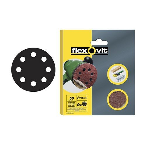 Flexovit 63642526710 Hook & Loop Sanding Discs 125mm Assorted Pack of 25