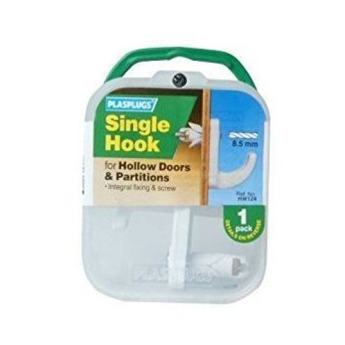 Plasplugs HW124 Single Hook For Hollow Doors & Partitions 8.5MM (Pack of 1)