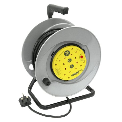 Rolson 4 Plug Socket 25M Mains Extension Over Heat Protection Cable Reel