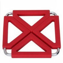 Square Stainless Steel Silicon Potholders Pot Holder,Heat-proof Mat(Red)