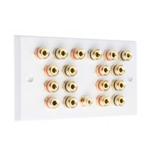 White 9.1 Speaker Wall Plate 18 Terminals + RCA Phono Socket - Two Gang - No Soldering Required