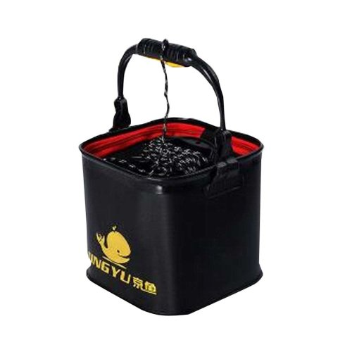 Collapsible Portable Black Water Bucket for Outdoor Activities with Rope