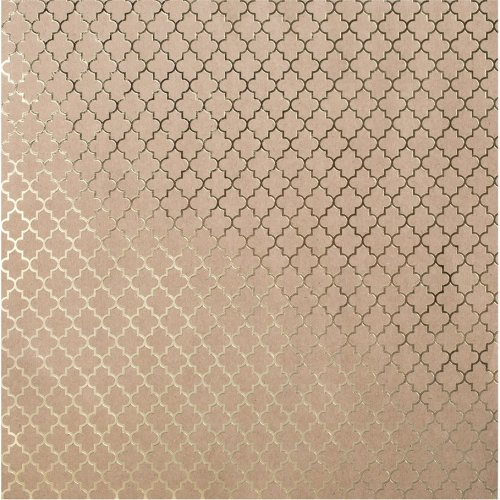 "Bazzill Foiled Kraft Cardstock 12""X12""-Gold Lattice"