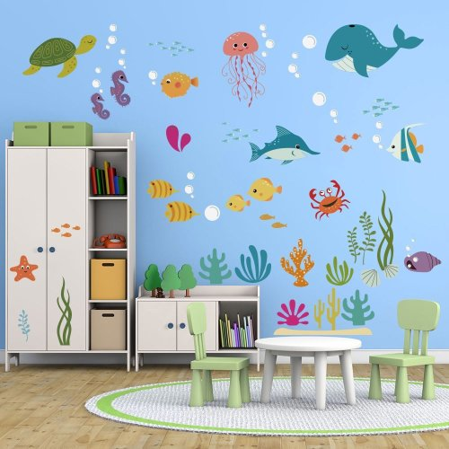 Decalmile Under The Sea Dolphin Fish Wall Stickers Kids Room Wall Decor  Vinyl Peel And Stick Wall Decals For Baby Nursery Childrens Bedroom... On  OnBuy