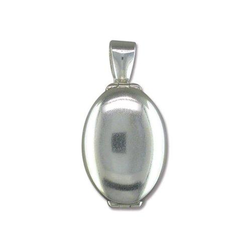 Sterling Silver Plain 4 Way Oval Locket On A Snake Necklace