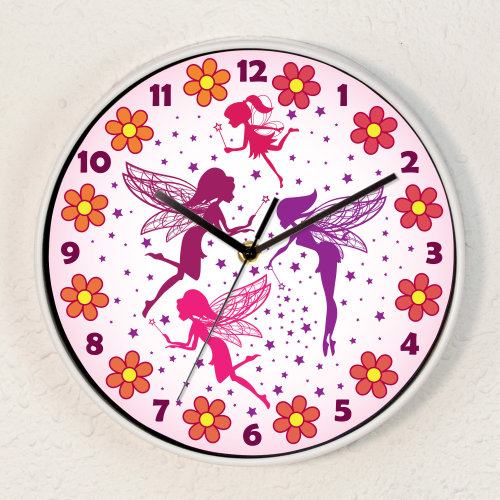 Magic Fairies Children Wall Clock Kids Gilrs Room