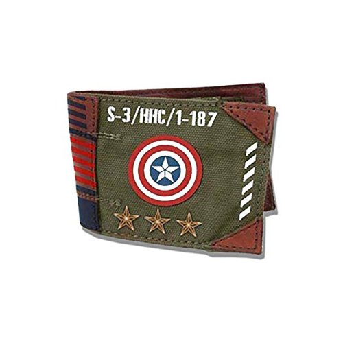 Marvel Comics Captain America Vintage Military Army Zip Top Wallet