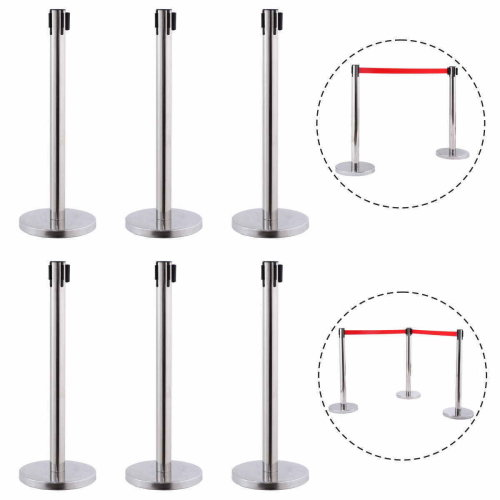 6 Red Belt Stanchion Queue Rope Barrier Posts Stand