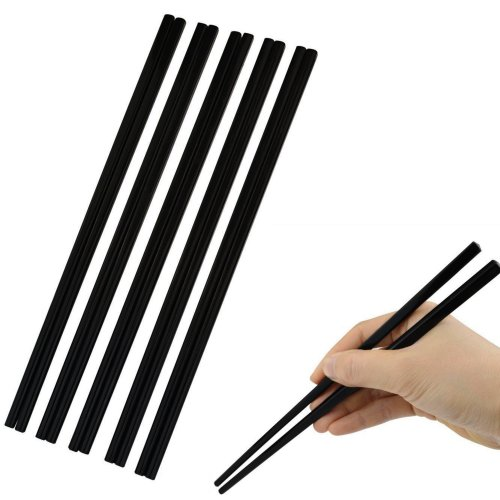 12 x Reusable Melamine Chopsticks Black Matt Sushi Chinese 24cm Oriental Food