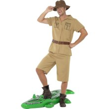 Smiffy's Adult Men's Safari Man Costume, Shirt, Shorts, Belt And Hat, Icons And -