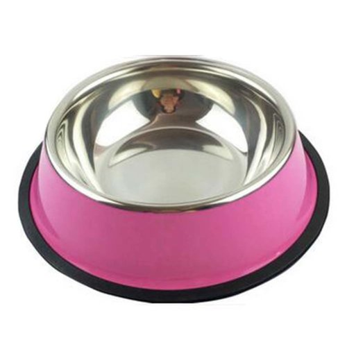 Little Stainless Steel Bowl Set Feeding Pot/Pet Bowl/Dog Bowl/Cat Bowl For Food & Water M Size (Pink)