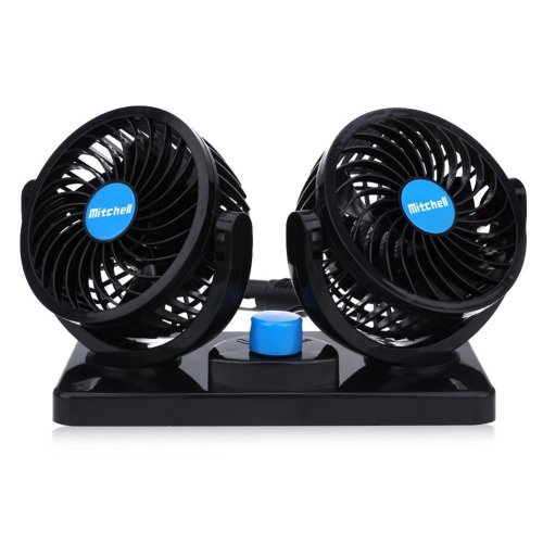 Dual Heads Car Fan 12V Electric Cooling Fan 360 Degree Manual Rotation Two Speeds Adjustable with Cigarette Lighter Plug In.