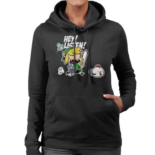 Hey Listen Cute Link Legend Of Zelda Women's Hooded Sweatshirt