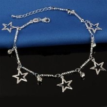 925 Sterling Silver Plated Star Ankle Bracelet Anklet Gift Bag