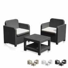 Garden Plastic Loung Set: 2 Armchairs 1 Coffee Table GIGLIO