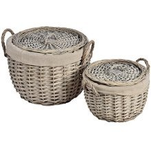 Hill Interiors Round Lined Wicker Baskets (set Of 2) (one Size) (light Brown) -