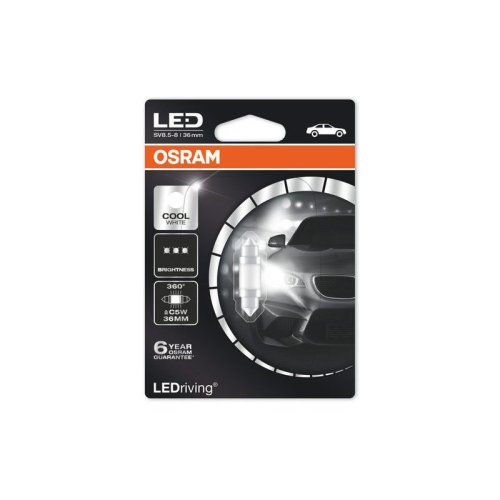 Osram Car 36mm LED Interior Festoon SV8.5-8 Cold White Light Bulb 12v
