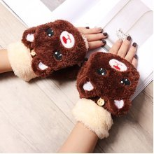 Women Cartoon Bear Thicken Plush Gloves