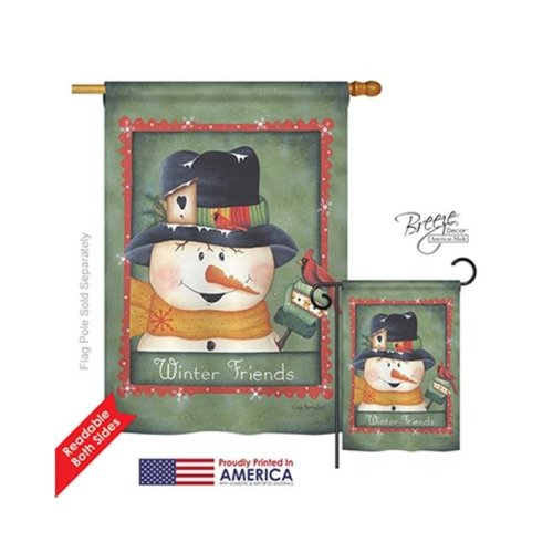 Breeze Decor 14092 Winter Winter Friends 2-Sided Vertical Impression House Flag - 28 x 40 in.