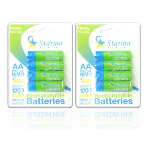 8 X Starmo AA MN1500 1200mAh Hr6/1.2V Rechargeable Batteries NiMh Ready To Use
