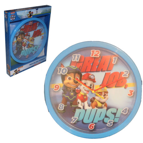 Official Licensed Disney / Character Children's Bedroom 24cm Wall Clock - Paw Patrol Blue