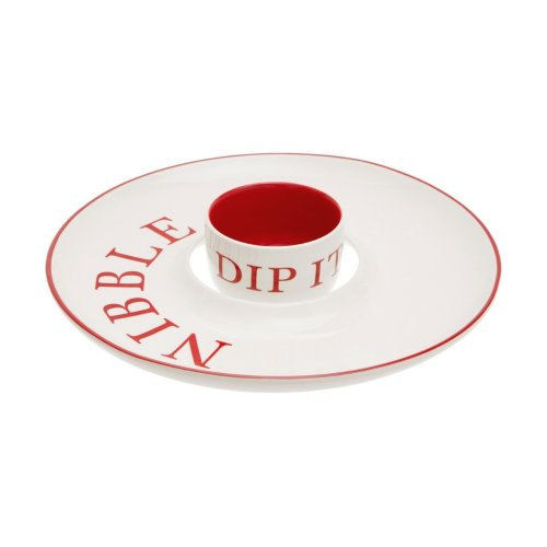 Hollywood Nibble And Dip Set, Red & Cream