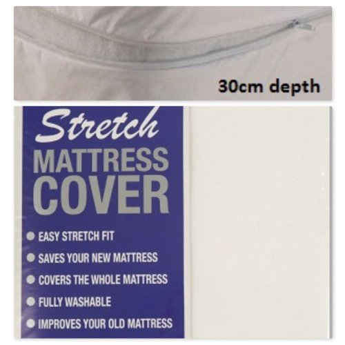Zipped Stretch Mattress Covers White In Single, Double & King