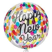 Confetti New Year Orbz Foil Balloons 15/38cm w x 16/40cm h  - G20