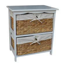 Water Hyacinth 2 Basket Drawer finished in White