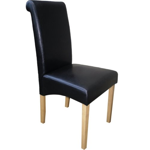 Marvelous Black Roma Dining Chair Faux Leather With Scroll Top Light Oak Leg Andrewgaddart Wooden Chair Designs For Living Room Andrewgaddartcom