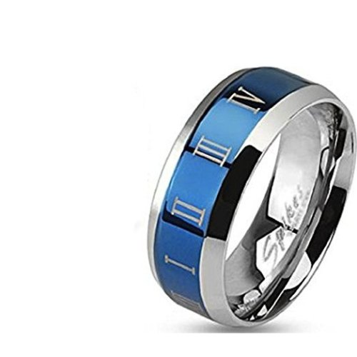 Blue Roman Numerals Beveled Edge Stainless Steel Band Ring
