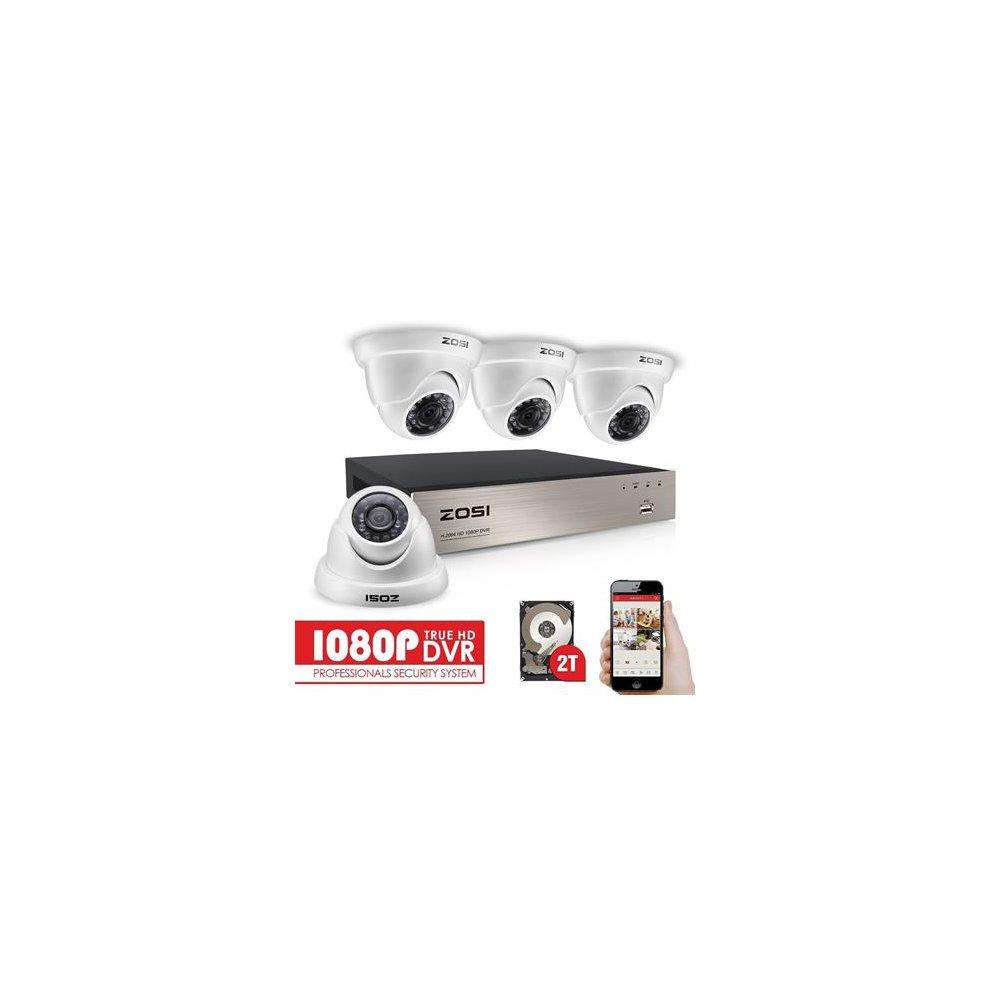 ZOSI 1080P CCTV Camera Syetem with Hard Drive (2TB) 8CH 1080P DVR For CCTV  System 4x1080P Security Cameras IP66 Weatherproof 20m Night Vision