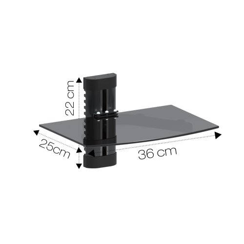 Dihl Black Floating Glass Shelf | TV Accessory Wall Mount