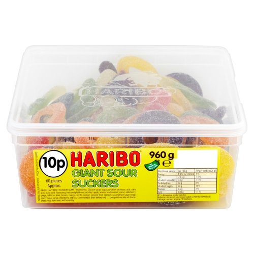 Haribo Giant Sour Suckers Sweets Tub 60's