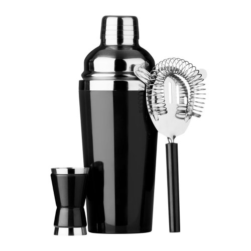 3pc Black Cocktail Set | Cocktail Shaker, Strainer & Measuring Cup