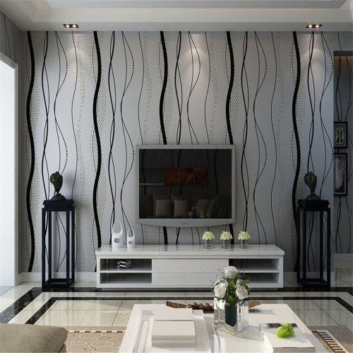 Modern Minimalist Water Plant Embossed Wallpaper Black Grey