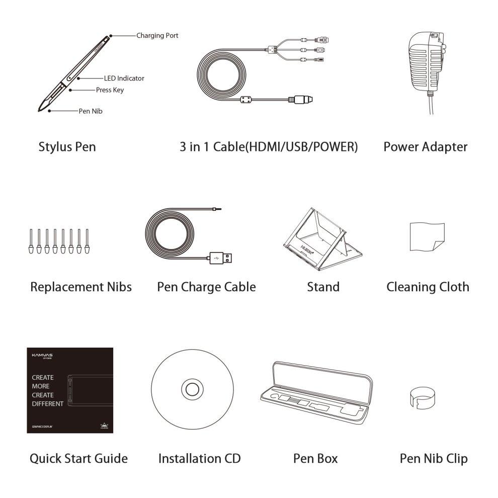 Huion Kamvas GT-156HD V2 8192 Pen Pressure Digital Graphics