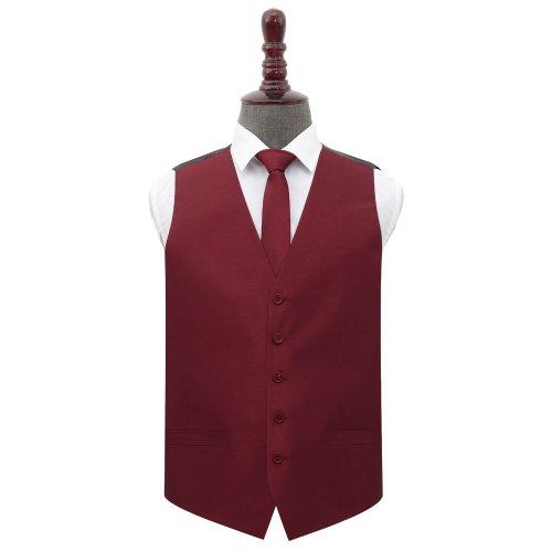 Burgundy Shantung Wedding Waistcoat & Tie Set 50'