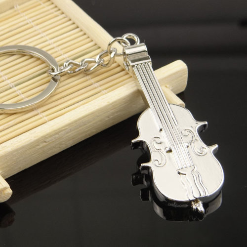 Cello Shaped Violin Shape Musical Instruments Silver Metal Keyring Key Chain Novelty Gift