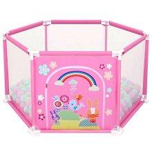 deAO Baby Ball Pit Safety Playpen Gate Set (Pink Hexagon)