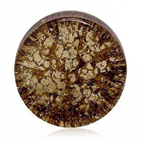 Golden Black Smooth Shattered Glass Flesh Tunnel / Saddle Plug / Ear Gauge