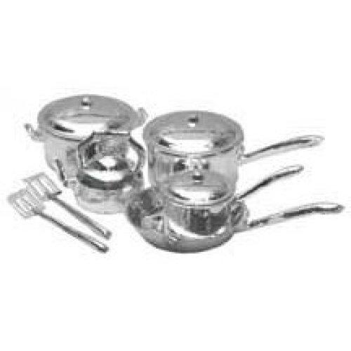 Dollhouse Miniature 10-Pc. Chrome Cookware Set
